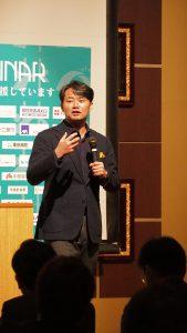 参加者の方々へ教育資金の準備の重要性を杉村節で講演